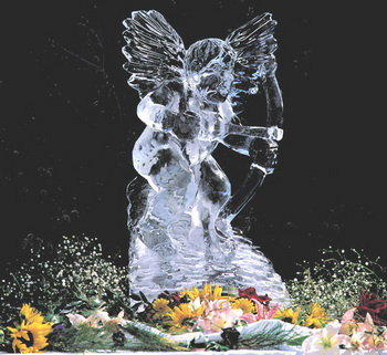 Wedding ice sculpture cherub