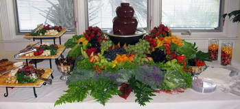 wedding fruit fountain with chocolate fountain