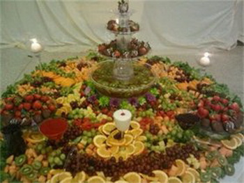 wedding fruit fountain position