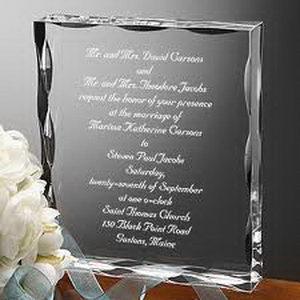 Engraved personalize wedding invitation