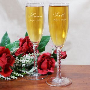 Engraved wedding toast flutes