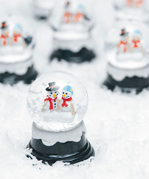 Snowglobes winter wedding favors