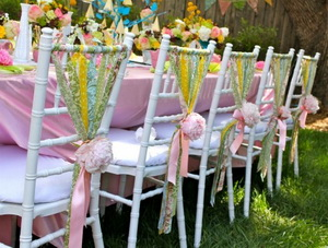 Personalized ribbons for wedding chairs