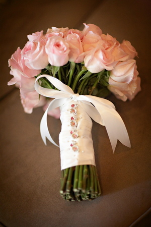 Personalized ribbons for wedding flowers