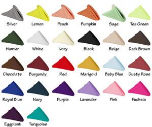 Customized wedding napkins color