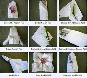 Customized wedding napkins folded