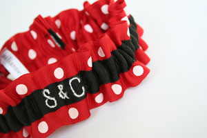 Custom monogram wedding garters