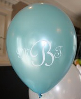printed monogram wedding balloons