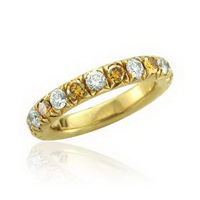 Yellow dimond yellow gold wedding bands