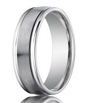 Cobalt chrome men wedding ring