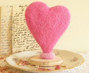 Handmade cotton heart cake topper