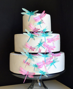 Edible dragonflies cake topper