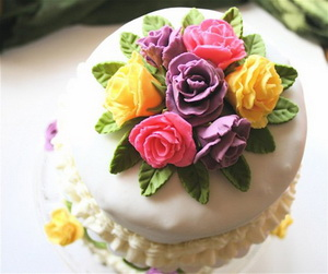 Edible Fondant Rose Wedding cake topper