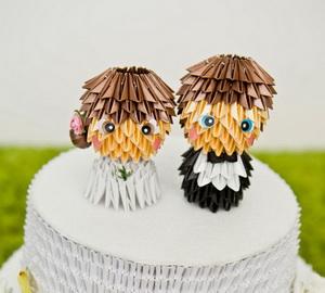 Handmade origami cake topper