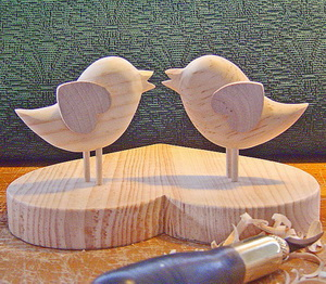 Handmade wood carved love birds