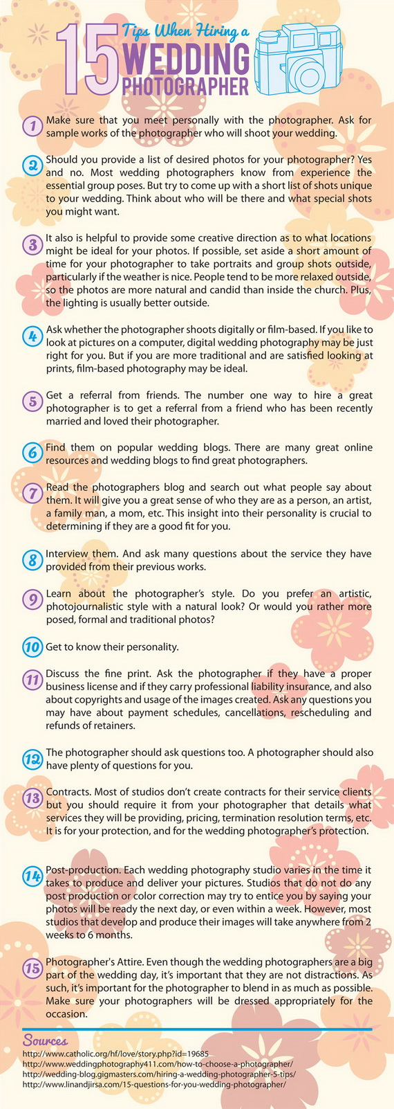 Wedding photographer infographic