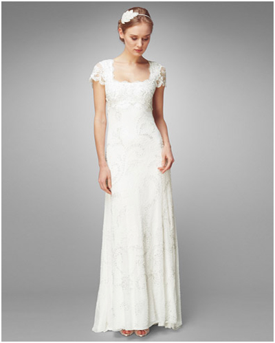 Winter wedding dress - Column Shapes with Cap Sleeves