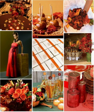 fall wedding colors - green, orange, red