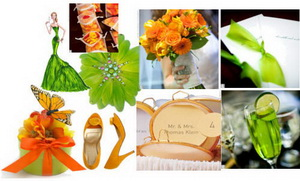 fall wedding colors - lime, orange, ivory