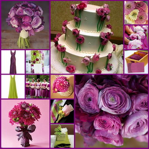 fall wedding colors - pink, purple, green