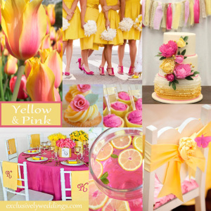 fall wedding colors - pink, yellow, grey