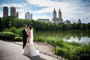 New York wedding photographer Sofia Negron Central Park Boathouse blue white