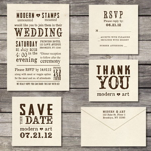 customised stamp wedding invite