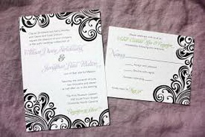 pattern accent wedding inviations